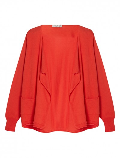 WATERFALL NECK CARDIGAN_FIERY RED_FR
