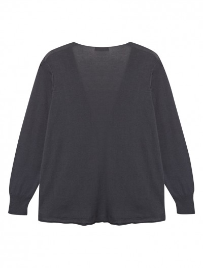 WATERFALL NECK CARDIGAN_INDIGO_BK