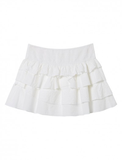 BRODERIE TIERED SKIRT_BK