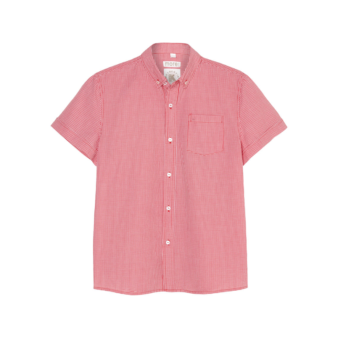 Boys shirt short sleeve red check front